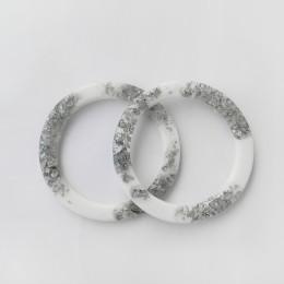 Ручки OXY круглые D=13.8 см, цвет - белый / серебро