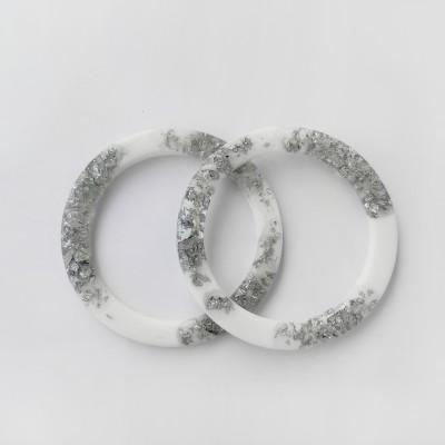 Ручки OXY круглые плоские D=13.8 см, цвет - белый / серебро
