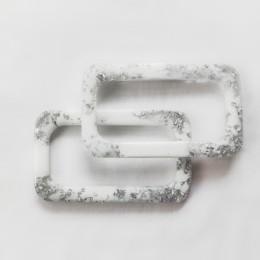 Ручки OXY прямоугольные 15,5x9 см, цвет - белый / серебро