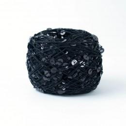 """Пряжа """"Пайетки"""" - цвет Черный P008, 50гр."""